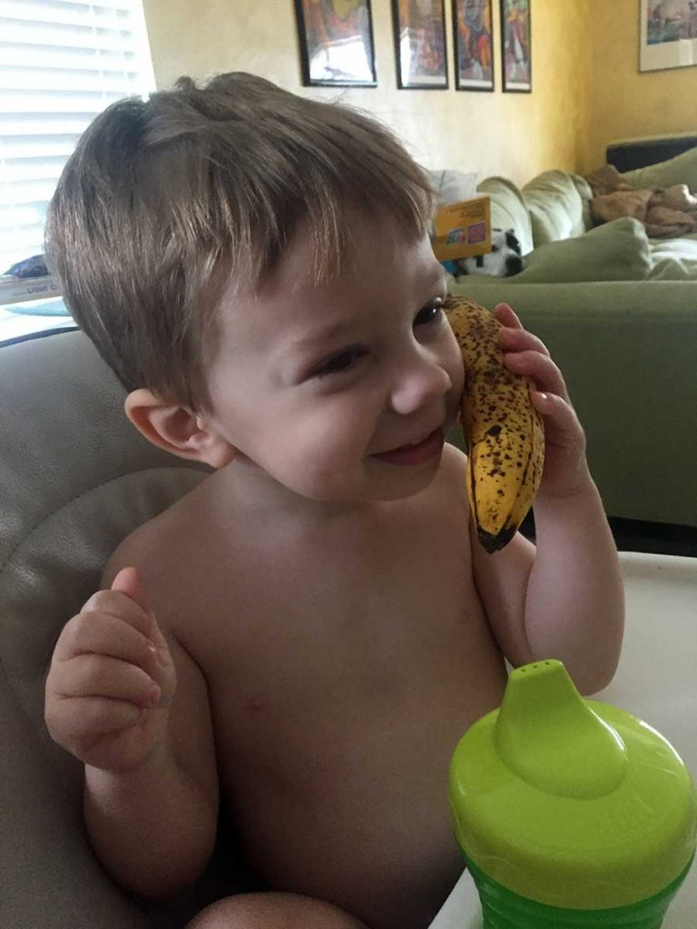 Christopher calls me on his banana phone!